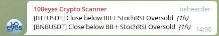 100eyes crypto scanner - alert voor traden met cryptocurrency Close Below Bollinger Band + StochRSI Oversold