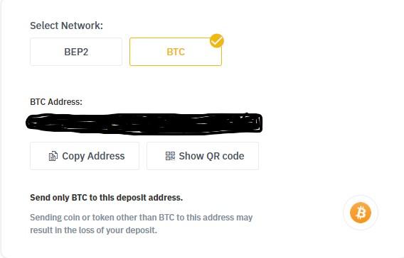 Deposit-adres van bitcoin opzoeken op Binance