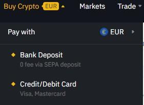 Euro van bankrekening naar Binance overmaken